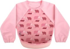 Bibetta Neopreen Slab met Mouwen - Oud roze - Nijlpaard met print