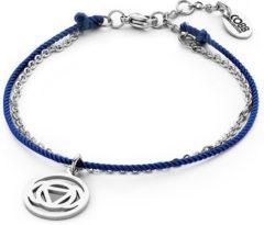 Donkerblauwe CO88 Collection Chakra 8CB 90202 Stalen Armband met Hanger - Third Eye Chakra Ø 15 mm - Lengte 18 + 3 cm - Donker Blauw