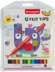 Bruynzeel Kids viltstiften, etui van 12 stuks in geassorteerde kleuren