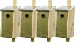 Decoris Set van 4 houten vogelhuisjes/nestkastjes met lichtgroene voorzijde en metalen dakje 26 cm - Vogelhuisjes tuindecoraties