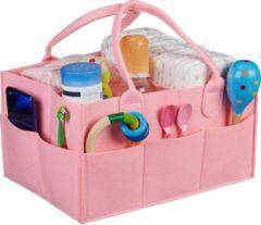 Relaxdays luiertas baby - organizer luiers - uitneembare schotjes - verzorgingstas vilt roze