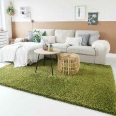 Tapeso Hoogpolig vloerkleed shaggy Trend effen - groen 300x400 cm