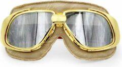 Ediors retro goud, beige leren motorbril | Zilver reflectie glas