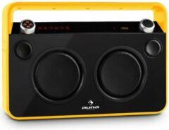 Gele Auna Bebop boombox USB bluetooth FM-radiotuner AUX MIC accu , 2-bands equalizer , geïntegreerde DSP , 21 voorkeuzezenders