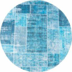 Veercarpets Vloerkleed Mijnen - Rond - ø200 cm - Turquoise - Patchwork