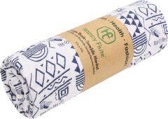 Witte Happy Flute Swaddle doek XL - Blauwe tekens