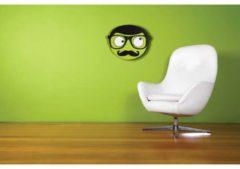 NeXtime Mr. Mustache - Klok - Stil Uurwerk - Rond - Hout - 37x31 cm - Groen/ Zwart