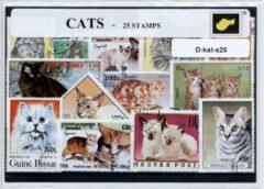 Transparante KLOMP G.T.P Katten - postzegelpakket cadeau met 25 verschillende zegels