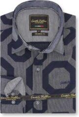 Gentile Bellini Heren Overhemd - Slim Fit - Regular Octagon - Blauw - Maat S