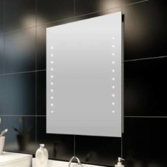 Zilveren VidaXL - Badkamerspiegel met LED verlichting - Spiegel - Glas - 60x50 cm - Transparant