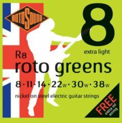 Groene Rotosound R8 Roto Greens set elektrische gitaarsnaren 008 - 038w