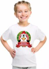 Bellatio Decorations Kerst t-shirt voor kinderen met pinguin print - wit - shirt voor jongens en meisjes L (146-152)