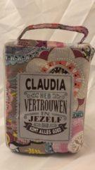 History&heraldy Shopper bag dames met leuke tekst CLAUDIA HEB VERTROUWEN IN JEZELF DAN KOMT ALLES GOED winkeltasje Wordt geleverd in cellofaan met linten