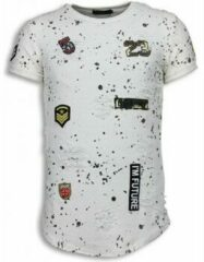 Witte T-shirt Korte Mouw Justing Paint Drops Army Shirt - Long Fit T-shirt Black Dotted