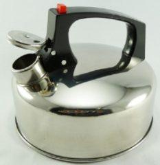Roestvrijstalen 2shop Fluitketel RVS 2 ltr met rode knop. alle warmte bronnen.