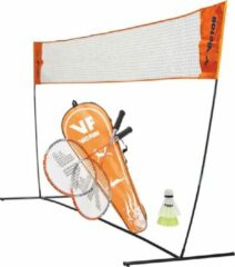 Oranje VICTOR badmintonnet EASY met VICTOR badmintonset hobby 1.6| 2 rackets en 2 shuttles