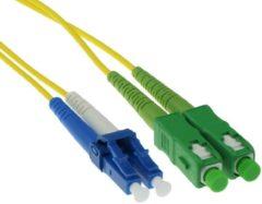 Naturelkleurige ACT 2 meter LSZH Singlemode 9/125 OS2 glasvezel patchkabel duplex met SC/APC en LC/PC connectoren RL8802