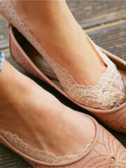 Beige Newchic Women Invisible Antiskid Lace Boat Socks Shallow Liner No Show Peep Low Cut Hosiery