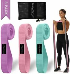 Paarse Positive Things Fitness Elastieken Resistance Bands set van 3 - Full Body Fitness Elastieken - Weerstandsbanden - Lange banden