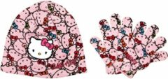 """Hello Kitty - Winterset - Muts & Handschoenen - Model """"Multiple Kitties!"""" - Roze - 52 cm"""