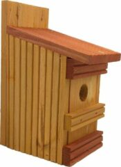 Garden Spirit - Nestkast Vogelhuisje Pimpelmees - Vlonderhout - Ø 27 mm - Oker Geel Rood Bruin
