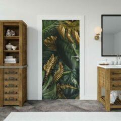 Groene Wallstation Deursticker Bloemen 15 - 100 x 250 cm - Gratis installatie-kit - Snelle levering