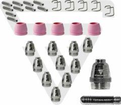 STAHLWERK P-60 plasma-accessoires slijtdelen plasmamondstukken + elektroden + keramische doppen voor P-60 CUT plasmasnijtoorts, set 30 stuks