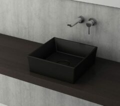 Bocchi Modena vierkante waskom 38cm zonder kraangat mat zwart