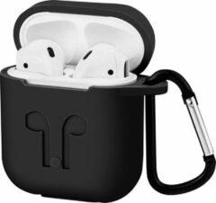 Case2go Apple Airpods hoesje - Premium Siliconen beschermhoes met opdruk - 3.0 mm - Zwart
