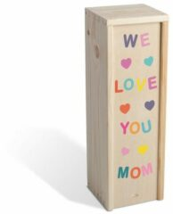 Roze Fotofabriek Wijnkist: We love you mom - moederdagcadeau