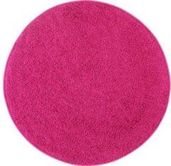 Impression Hoogpolig Rond Vloerkleed Shaggy Loca Ø150 CM - Roze