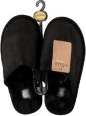 Apollo Zwarte instap sloffen/pantoffels met bont voor dames - Zwarte slippers voor dames 37-38