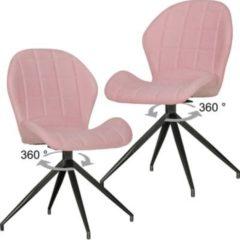 Wohnling 2er Set Vintage Design Esszimmerstühle YUKI 360° drehbar Rot gepolstert Polsterstühle mit Lehne und Metallbeinen Doppelpack Küchenstühle