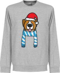 Grijze Retake Christmas Dog Scarf Kersttrui - Lichtblauw/Wit - Kinderen - 140