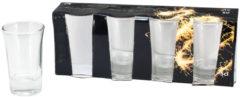 Bellatio Design 4x stuks Shotglaasjes/shotjes transparant van glas 7 cm - Feestglazen - Borrelglazen/shotglazen