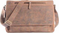 Wild Woodss WILD WOODS Leren Laptop Messenger Bag Unisex Schoudertas – 15,6 inch Laptoptas – Buffelleer - Vintage Bruin