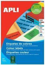 Rode Apli Gekleurde etiketten formaat 105 x 37 mm (b x h) rood 1.600 stuks 16 per blad doos van 100 blad