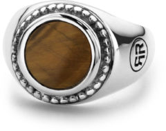 Rebel & Rose Rebel and Rose RR-RG012-S Ring Women Round Tiger Eye zilver-bruin Maat 44