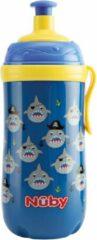 Nûby - Pop-Up drinkfles met 'glow in the dark' ring - Blauw - 360ml