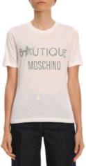 Bianchi BOUTIQUE MOSCHINO T-shirt A Maniche Corte Con Maxi Logo Di Strass