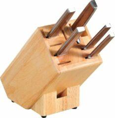 Bruine Merkloos / Sans marque Houten messenblok universeel 12 x 12 x 26 cm - Messenblokken/messenhouders