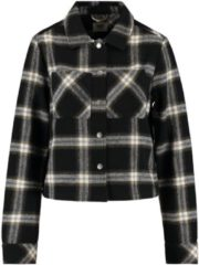 Zwarte America Today Holly blouse in wolblend met ruitdessin