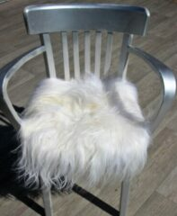 Donja Eco IJslands schapenvacht stoelkussen wol wit met lange wol.