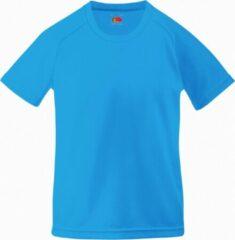 Azuurblauwe Fruit Of The Loom Kinderen Unisex Prestatie Sportskleding T-Shirt (2 stuks) (Azure Blauw)