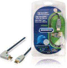 Blauwe Bandridge HDMI 1.4 High Speed with Ethernet kabel haaks naar rechts - 1 meter