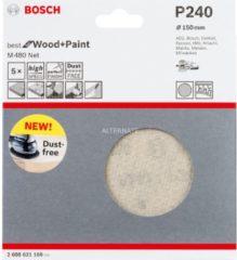 Bosch Schleifblatt M480 Net, Best for Wood and Paint, 150 mm, 240, 5er-Pack VPE: 5
