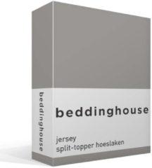 Beddinghouse jersey split-topper hoeslaken - 100% gebreide katoen - Lits-jumeaux (160x200/220 cm) - Taupe