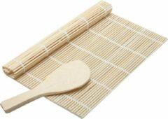 Bruine AA Commerce Easy Sushi Roller Bamboe Mat - Sushi Roll Maker Set - Rolmatje Rijstlepel Kit - 2-Delig