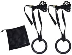 Zwarte Tunturi Gymnastic rings kunststof - 23cm diameter - inclusief riem