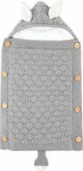 Grijze BonBini's baby slaapzak Oortjes - Baby Wandelwagen slaapzak, babydekentje met knopen - 75 x 40 cm - Light Grey